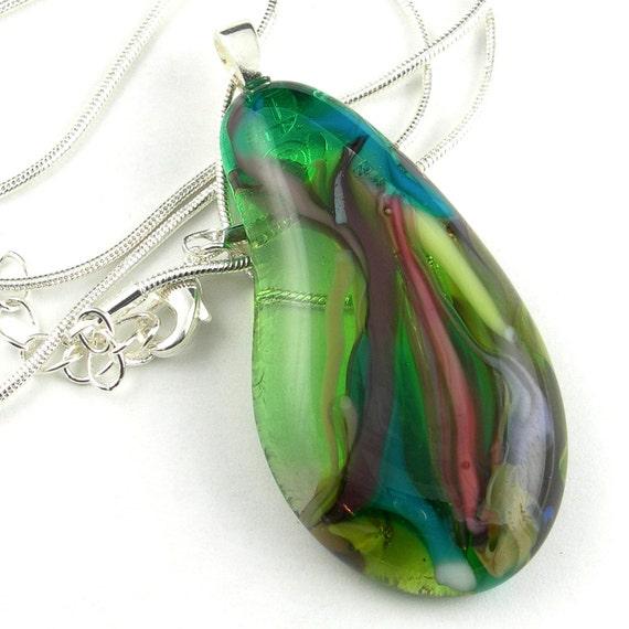 Fused Glass Pendant Necklace in Green, Purple, Pink - Teardrop