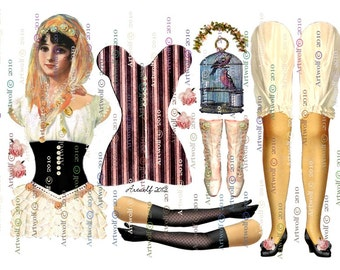 Instant Download DIGITAL Gypsy PAPER DOLL Altered Vintage Fortune Tarot Crystal ball 3 Sheets Teacup birdcage Papercrafts Cards