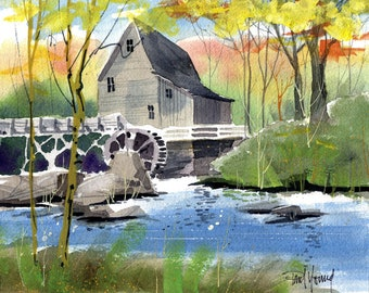 Old Mill-Print of an original watercolor painting