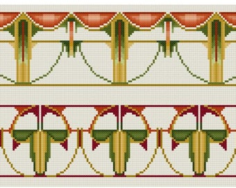 Arts and Crafts period repeating border Cross stitch pattern PDF