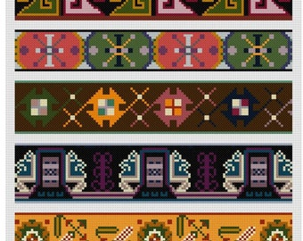 5 Repeating Border or Edging Cross stitch patterns pdf