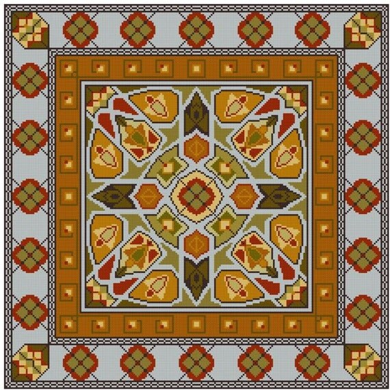 Double Border Persian Rug Inspired Square Cross Stitch