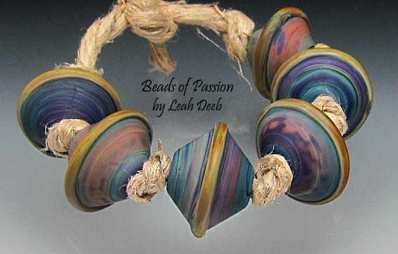 Glass Beads Handmade Artisan Lampwork - 6 Earthy Unique Tie Dye Bicones