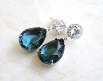 Earrings Montana Navy Blue Teardrop Stone Silver Stud BEVM