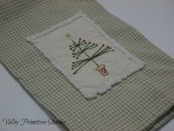 Christmas Tree Hand Stitched Kitchen Towel,Winter, Christmas, Tree