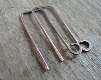 2 Pairs of my Millstone Antiqued Copper Earwires - Handmade. Handforged