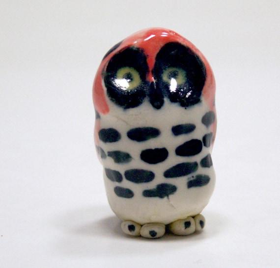 owl figurine - masked - porcelain miniature animal