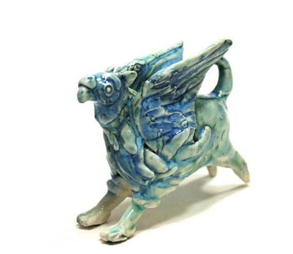 monster figurine - blue griffon griffin gryphon - porcelain animal