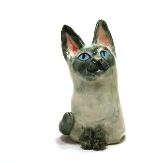 cat figurine - siamese kitten - porcelain figurine