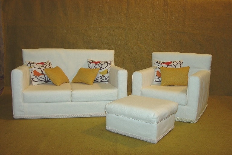 18 Inch Doll Furniture Sofa Chair Ottoman Ivory Off