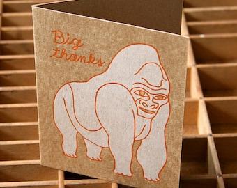 letterpress gorilla thank you card