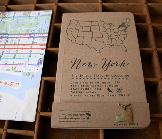 NY notebook & necklace set letterpress