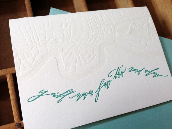 Letterpress Betsy Dunlap Calligraphy Sympathy Map Card