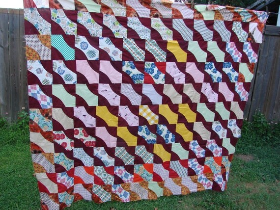 Vintage Pretty Pattern Quilt Top Kentucky Made with Feed Sack Fabrics