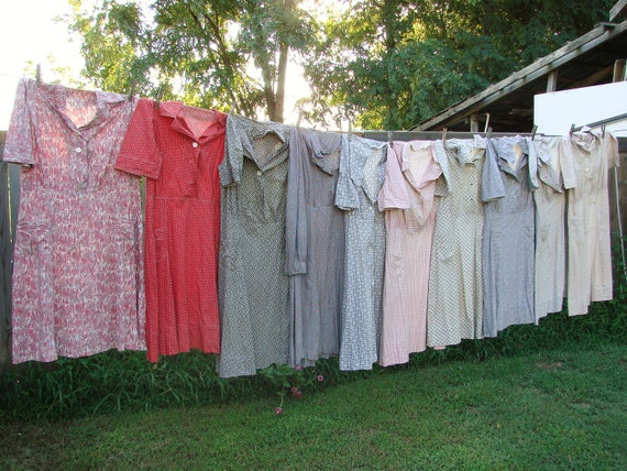 Vintage Lot of Rural Americana Cotton Print Dresses Country Living