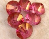 Czech Glass Saucer Beads, Pink Picasso, 13x9 MM 6-Pieces C262