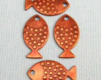 Flat Fish Charm, Antique Copper, 4 Pc. K92