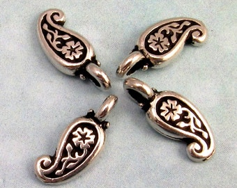 TierraCast Small Paisley Charm, Antique Silver 4 Pc. TS9