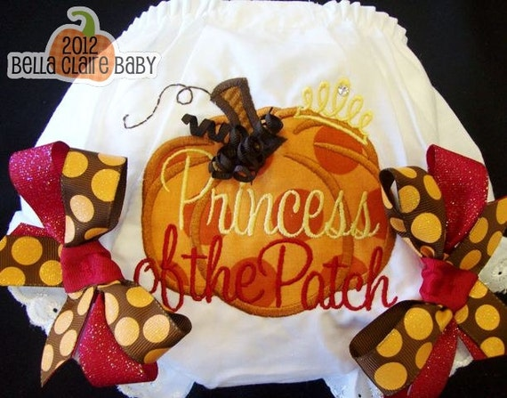 Size 18-24 months ready to ship Princess of the Patch SpArKle BLinG Fall Pumpkin bow bloomers- embroidered BLiNg crystal diaper covers