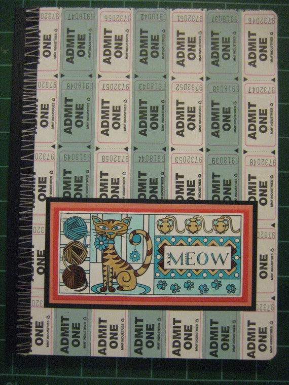 Teal and White Ticketed Kitty Composition Notebook