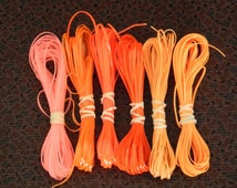Lot of Rexlace boondoggle plastic lace gimp in ORANGE colors 60 yards total