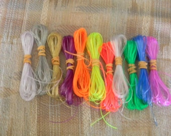 Lot of Rexlace boondoggle plastic lace gimp in clear colors 110 yards total