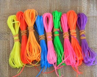 Lot of Rexlace boondoggle plastic lace gimp in NEON colors 90 yards total