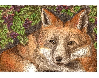 Fox and the Grapes fable giclee print