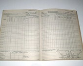Vintage Multi Column Ledger Book for Dairy Cattle or Animal Farmers by the Dairy Herd Improvement Association