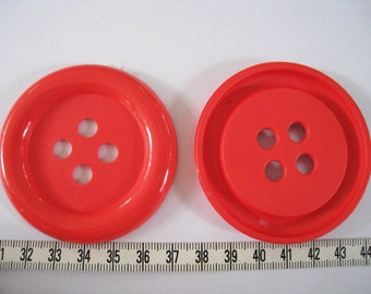 6 pcs of Extra Large Four Hole Red  Button - 64mm or 2.5 inches