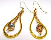 Hoop earrings Copper wire and aurora borealis eclectic teardrop glass bead dangle earrings