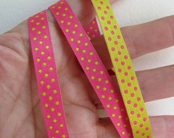 3 yards ELOISE Polka Dots Jacquard trim. REVERSIBLE. Lemon and Shocking Pink. 3/8 inch wide. 928-E