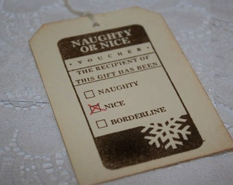 CHRISTMAS IN JULY Christmas Gift Tags - Naughty or Nice Fill in - Stamped