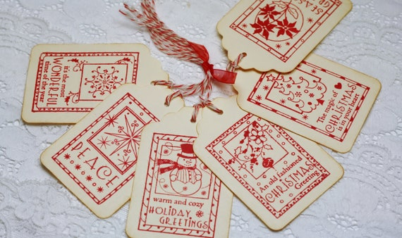 CHRISTMAS IN JULY Handmade Vintage Style Gift Tag - Christmas Images