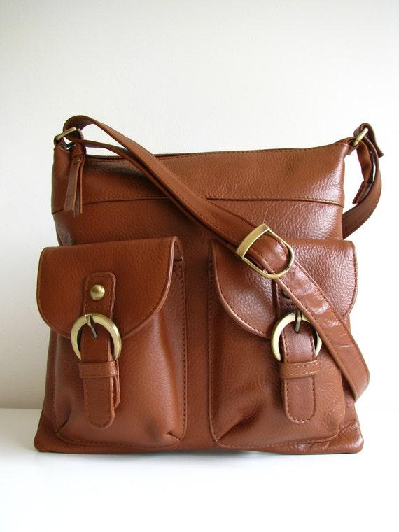 Leather Messenger Bag Shoulderbag Handbag Brown
