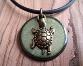 Turtle Necklace Olive Green Copper Enamel pendant necklace