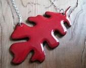 Oak Leaf Enamel Necklace Handmade Pendant Red Copper Enamel Sterling Silver Chain
