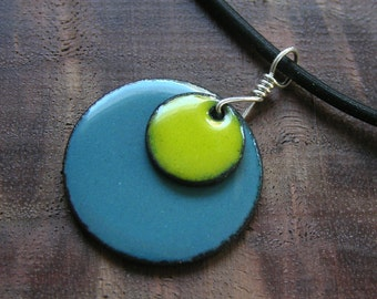 Enamel necklace Copper Apple Yellow and Delft Blue Handmade discs pendant