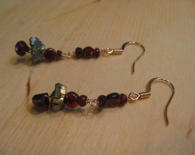 Insouciant Studios Roseate Glitter Earrings Pyrite Garnet
