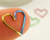 1 Heart - 20 gauge Niobium Heart Piercing - Hypo Allergenic - You Pick Color - Cartilage Piercing - Bottom Closure