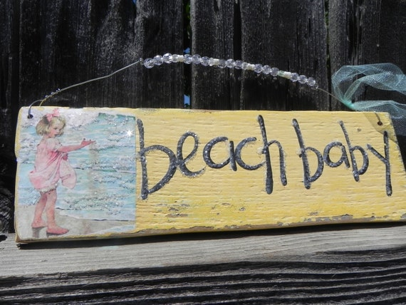 Vintage Beach Baby Sign Sunny Yellow Wood with Shells RUSTIC and Primitive Beach Surfer Glitter