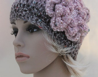 Pink/Beige/Brown Ombre Crocheted Hat, with Beaded Flower
