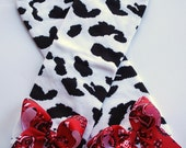 boutique DOWN at the FARM red bandana and COW print leg warmers with attached bows
