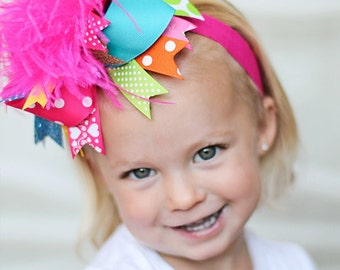boutique BIRTHDAY BRIGHTS over the top hair bow on a headband