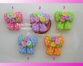 Flower Dot Bow Polymer Clay Charm Bead Scrapbooking Embelishment Bow Center Pendant Cupcake Topper