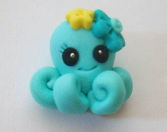 M2MG Sea Splash Octopus Polymer Clay Charm Bead, Scrapbooking, Bow Center, Pendant, Cupcake topper, Magnet
