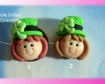 St. Patrick Clover Girl Polymer Clay Charm Bead Scrapbooking Embelishment Bow Center Pendant Cupcake Topper