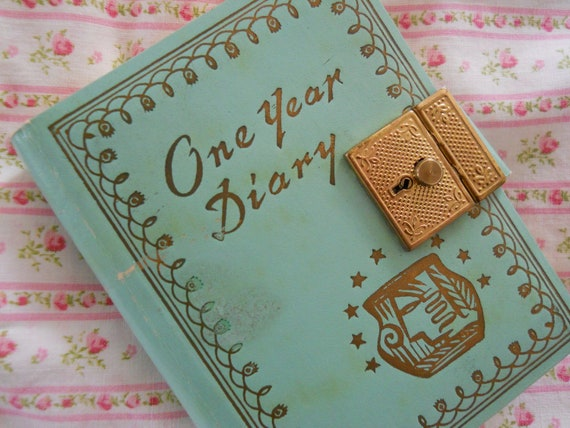 RESERVED charming vintage jadite green locking diary, unused, with two keys, monthly tabs, gold tone clasp and gold details on cover.