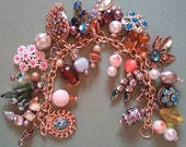 "Vintage Charm Bracelet ""Eclectic Luv "" Romance  Upcycled Altered Art Repurposed"
