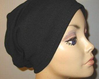 Black  Knit Chemo Cap Wear it 2 Ways Cancer Hat, Alopecia, Modest Hat